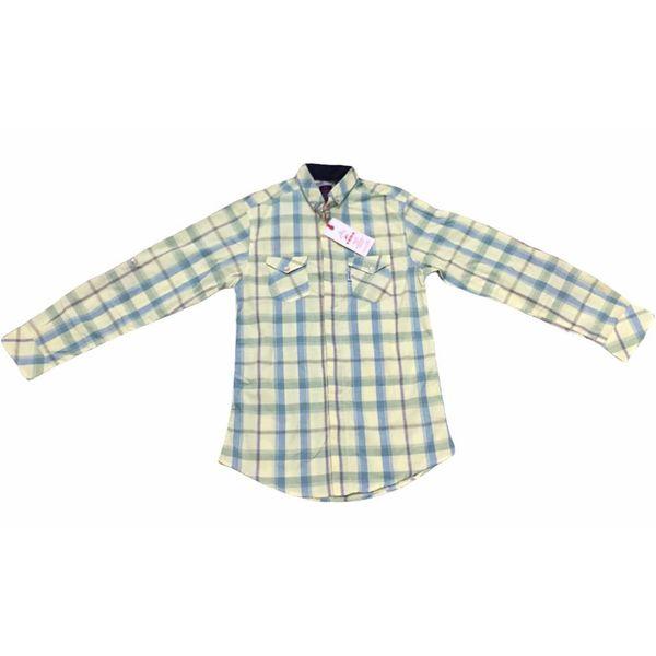 پیراهن پسرانه مدل چهارخونه رنگ لیمو ای