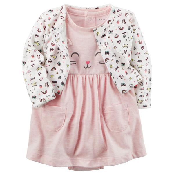 ست کت و پیراهن نوزادی دخترانه کارترز طرح گربه کد M437