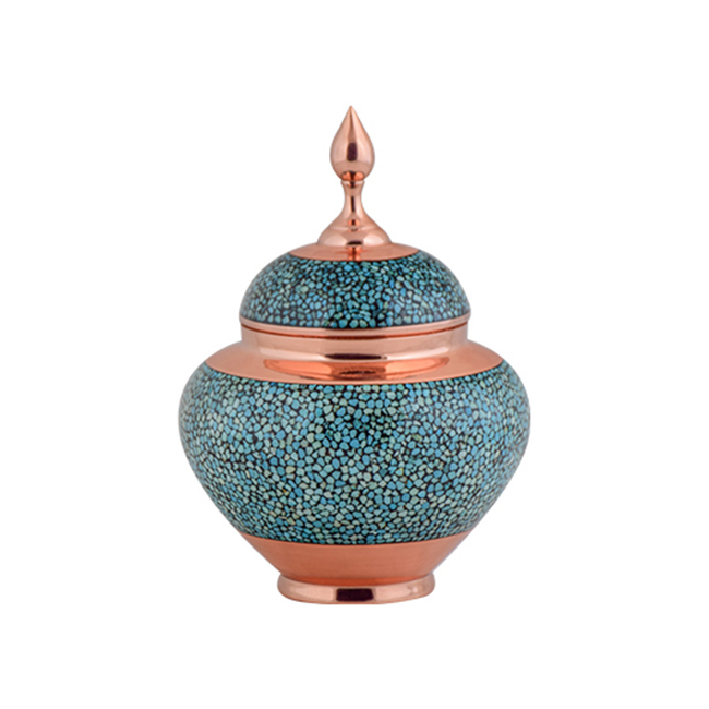 AGHAJANI Handicrafts Turquoise inlaying sugar/ candy pot dish, Apple Model, code F161
