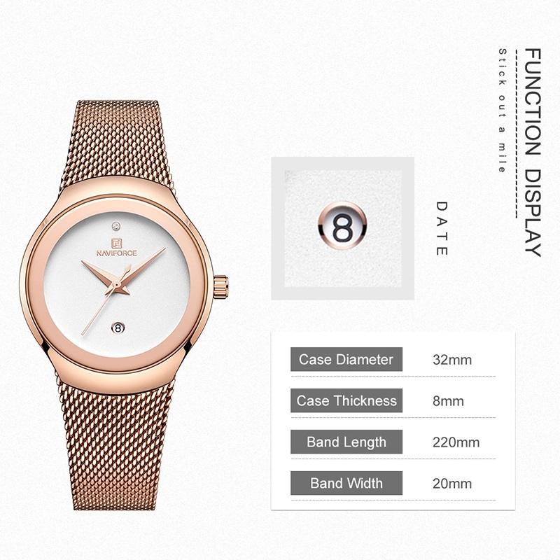 ساعت مچی عقربه ای زنانه نیوی فورس مدل NF5004 RGW              ارزان