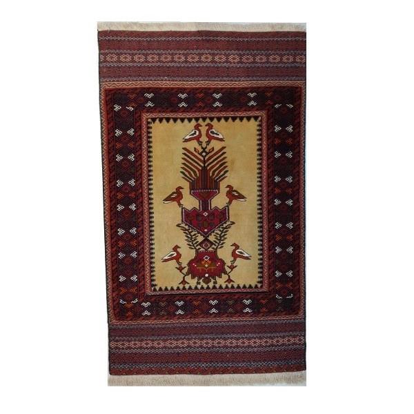 گلیم فرش دستباف یک متری طرح بافت بلوچ مدل گلدانی کد 10029