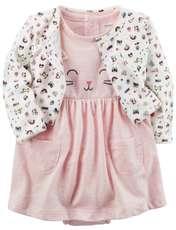 ست کت و پیراهن نوزادی دخترانه کارترز طرح گربه کد M437 -  - 2