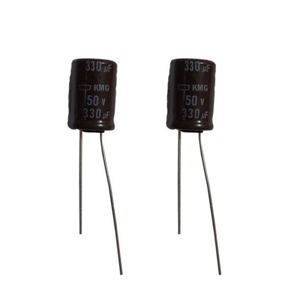 خازن 330 میکرو فاراد 50 ولت مدل KMG330 بسته 2 عددی