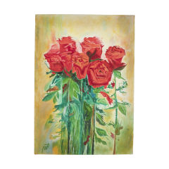 تابلو نقاشی رنگ روغن طرح گل رز کد 01