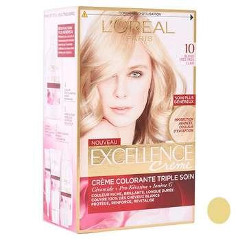 کیت رنگ مو لورآل مدل Excellence شماره  10 حجم 48 میلی لیتر رنگ بلوند خیلی روشن
