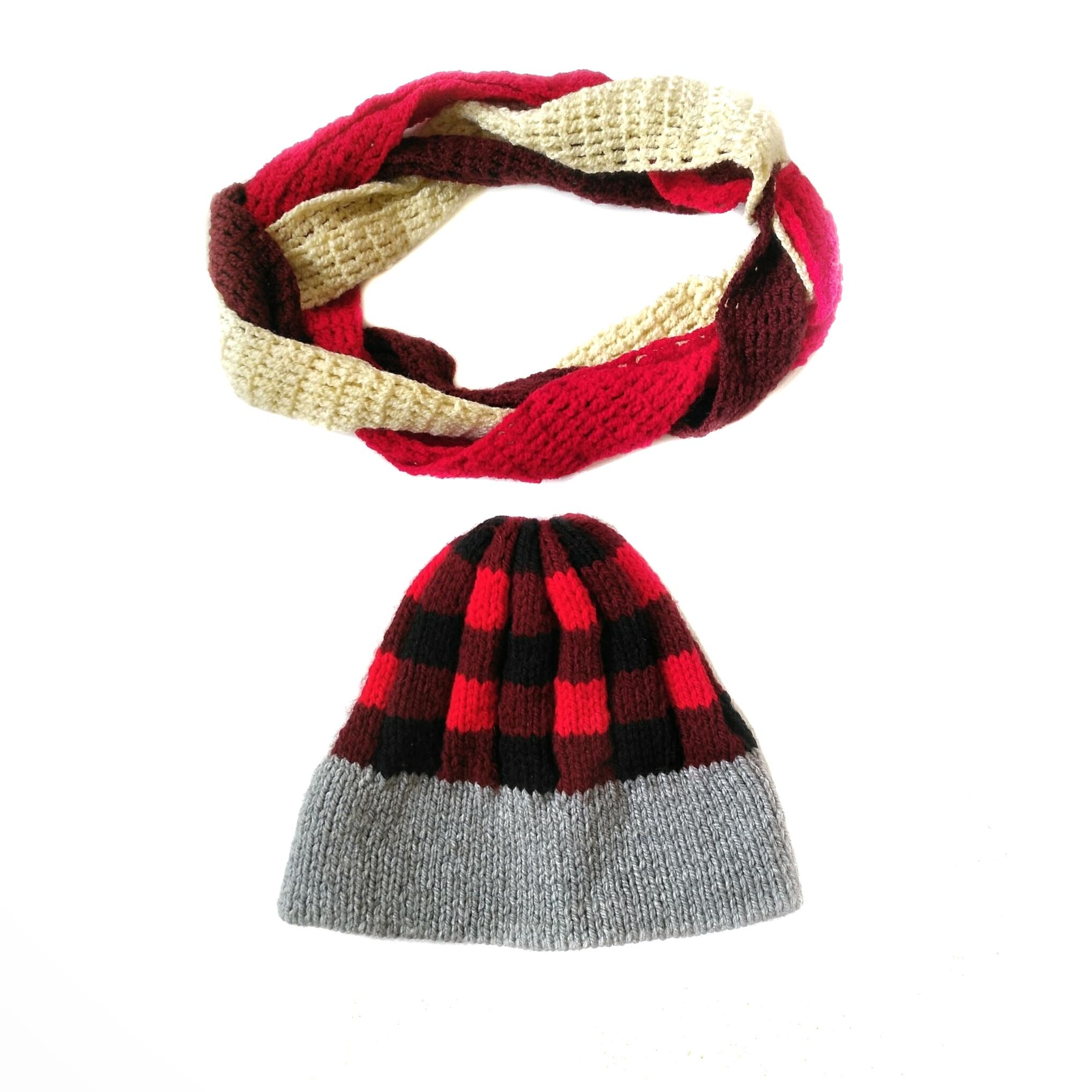 ست کلاه و شال گردن بافتنی زنانه  کد afs024