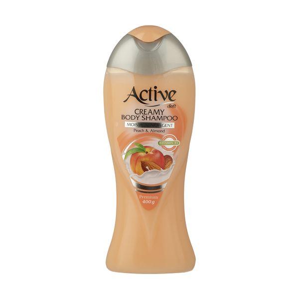 شامپو بدن کرمی اکتیو مدل Peach And Almond مقدار 400 گرم