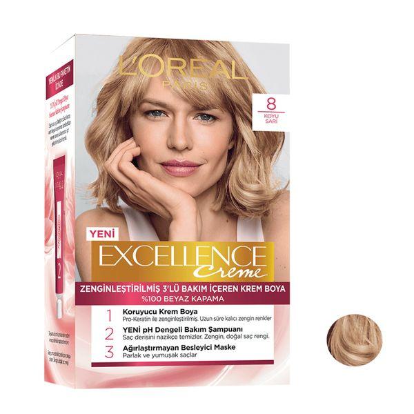 کیت رنگ مو لورآل مدل Excellence شماره 8 حجم 48 میلی لیتر رنگ بلوند متوسط
