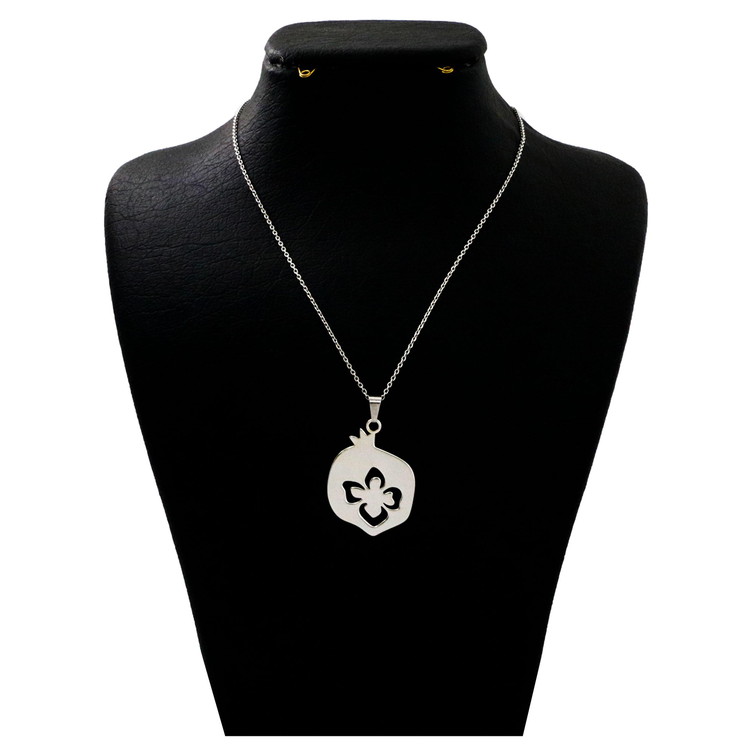 گردنبند نقره زنانه  دلی جم طرح انار کد D 392