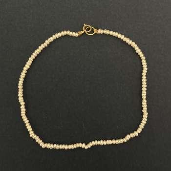 پابند طلا 18 عیار زنانه الماسین آذر طرح مروارید کد Baroq01