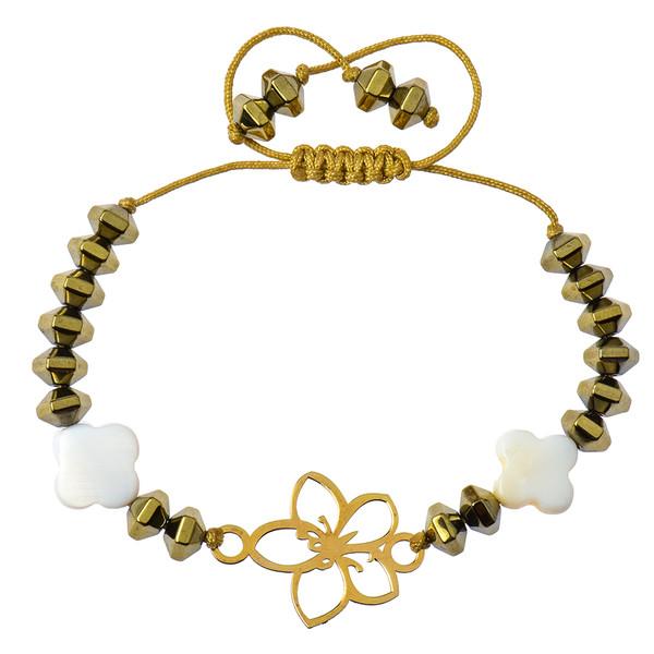 دستبند طلا 18 عیار دخترانه کرابو طرح گل مدل Krd1025