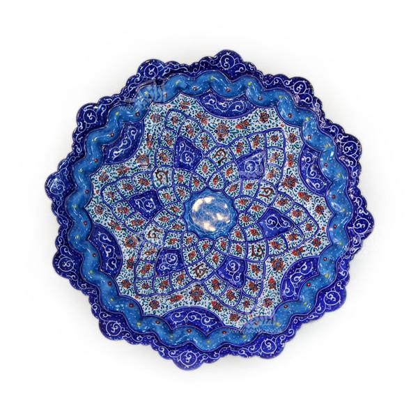 بشقاب مینا کاری گرد  رنگ آبی طرح ستاره مدل 1000100013