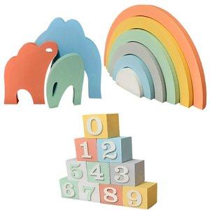 استند رومیزی اتاق کودک طرح رنگارنگ مدل 042R مجموعه 3 عددی