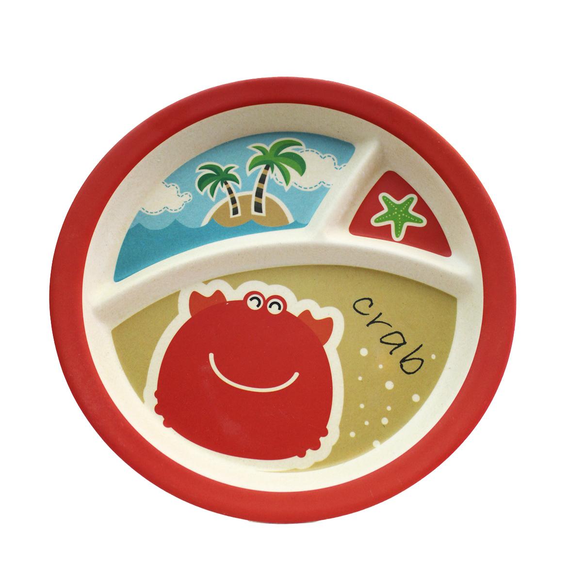 ظرف غذا 5 تکه کودک بامبو فایبر طرح خرچنگ