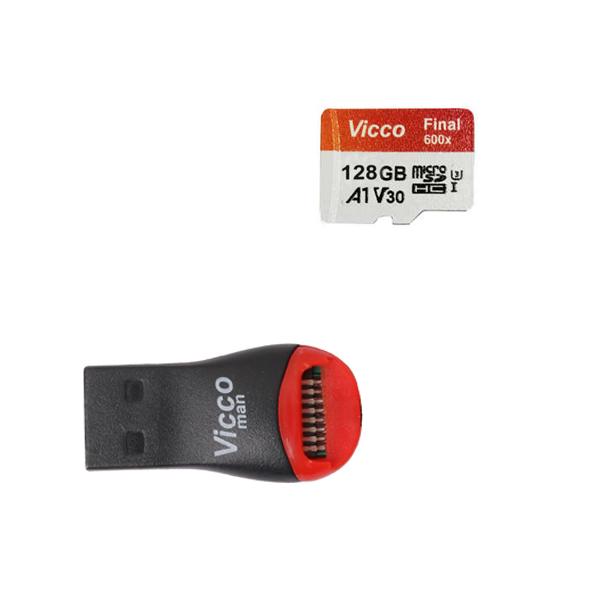 کارت حافظه micro SDXC ویکومن مدل 600X Plus کلاس 10 استاندارد UHS-I U3 سرعت 90MBs ظرفیت 128گیگابایت به همراه کارت خوان