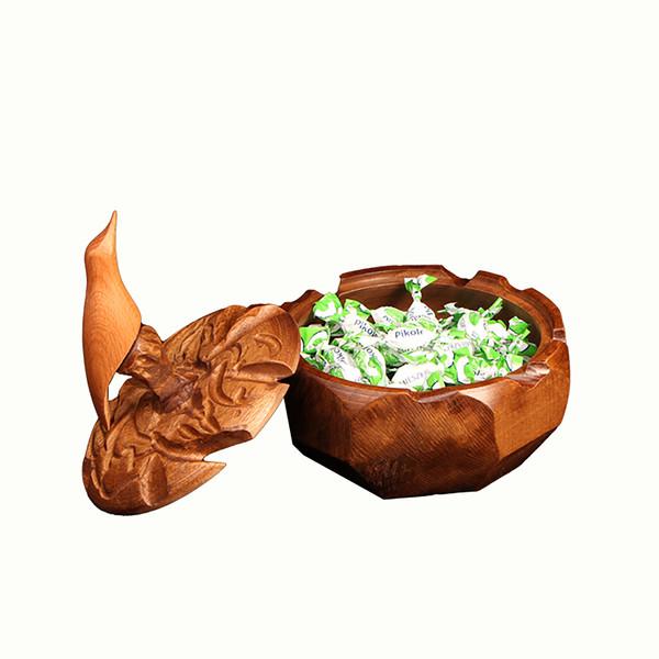 شکلات خوری تراش چوب رنگ قهوه ای طرح پرنده مدل 1001500004