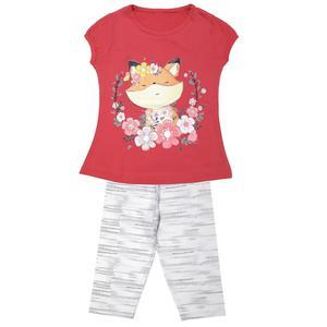 ست تی شرت و شلوارک دخترانه مدل روباه کد 3335 رنگ سرخابی