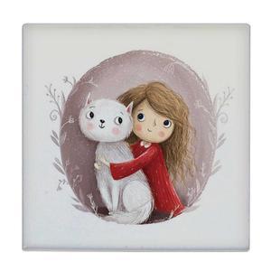 کاشی طرح دختر و گربه کد wk3233