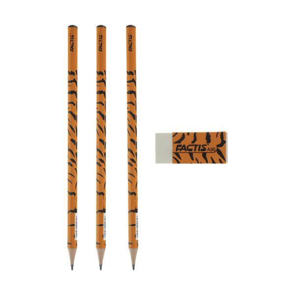ست مداد مشکی و پاک کن فکتیس طرح ببر بسته 3 عددی