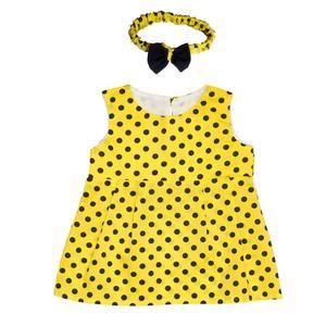ست پیراهن و هدبند دخترانه مدل زنبور عسل