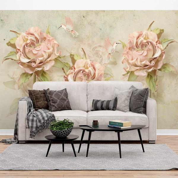 پوستر سه بعدی طرح گل های ورتی و مرغ های شهد دار کد 16414561