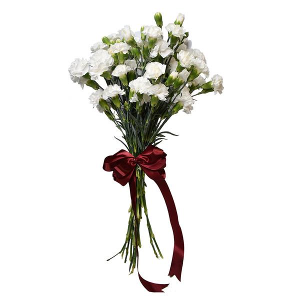 شاخه گل میخک مینیاتوری سفیددسته 9 عددی