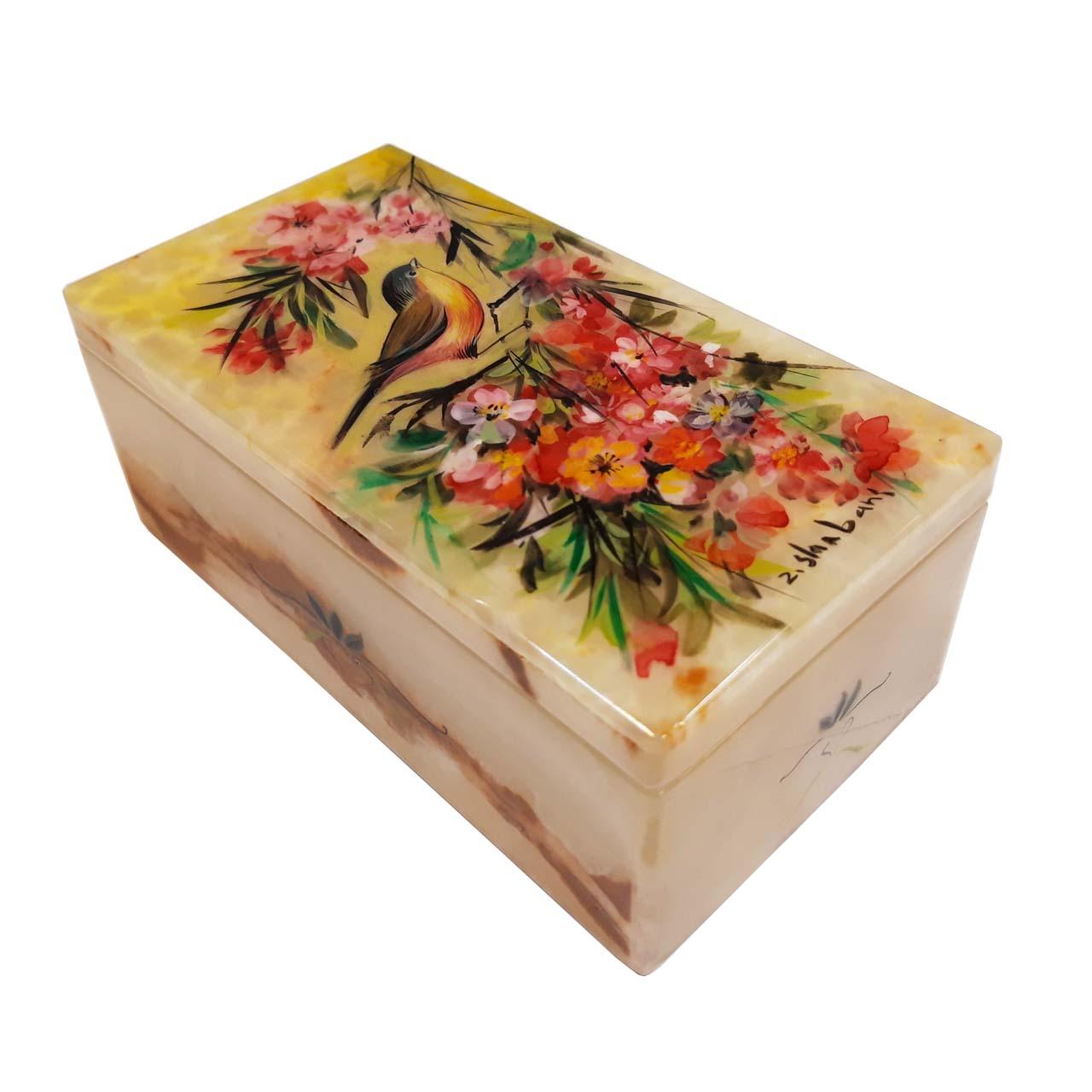 جعبه سنگ مرمر طرح گل و مرغ مدل 30158-2