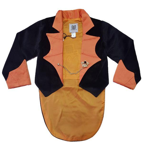 کت تک پسرانه ساتوبلو مدل هالوین طرح اسکلت رنگ نارنجی