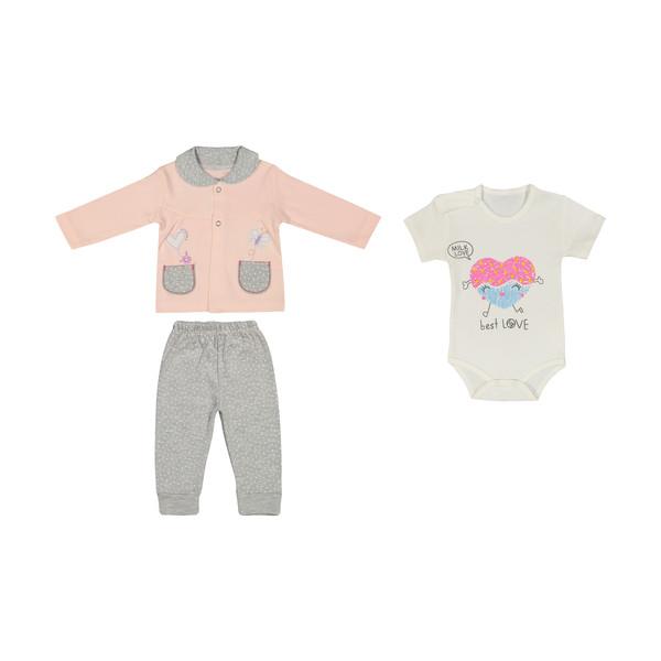 ست 3 تکه لباس نوزادی بی بی وان مدل قلب کد 458