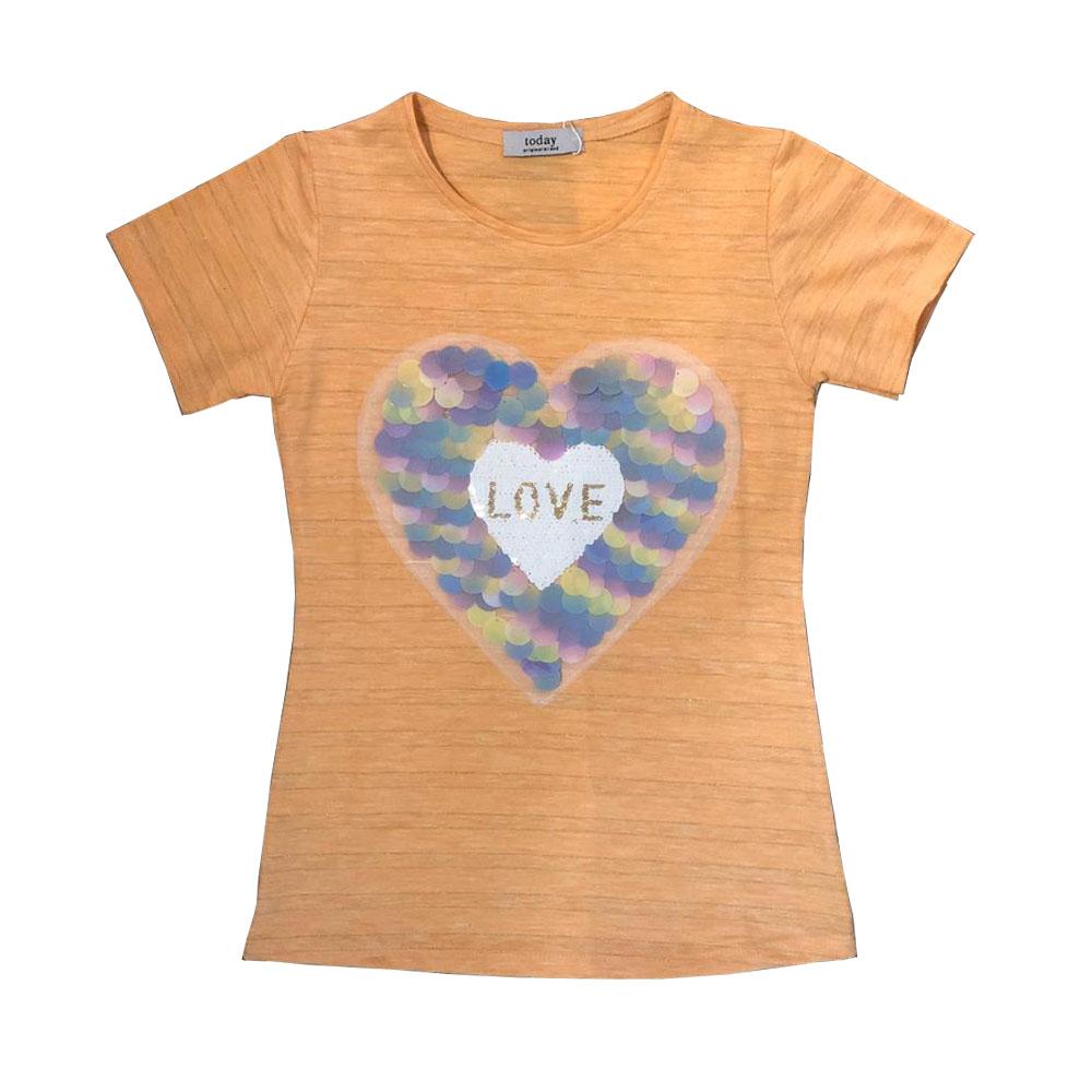 تی شرت آستین کوتاه دخترانه طرح قلب کد T201