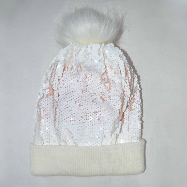 کلاه بافتنی دخترانه مدل 104 رنگ سفید