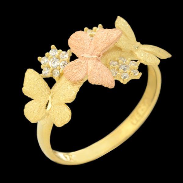 انگشتر طلا ۱۸ عیار زنانه طلای مستجابی طرح پروانه مدل 67145