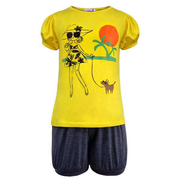 ست تی شرت و شلوارک دخترانه افراتین مدل دختر ساحلی رنگ زرد