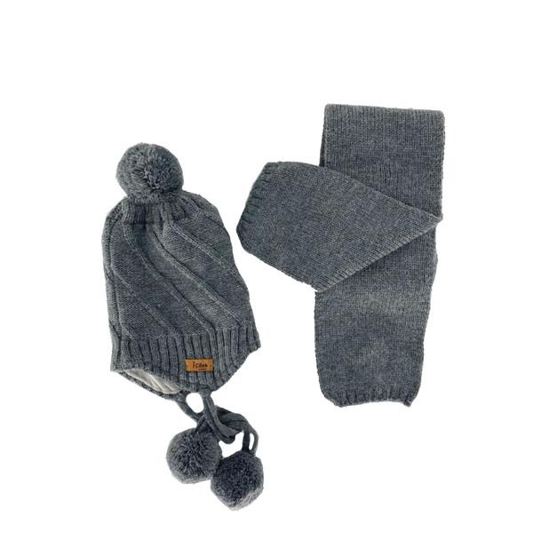 ست کلاه و شال گردن بافتنی پسرانه آی چیلک مدل IC022