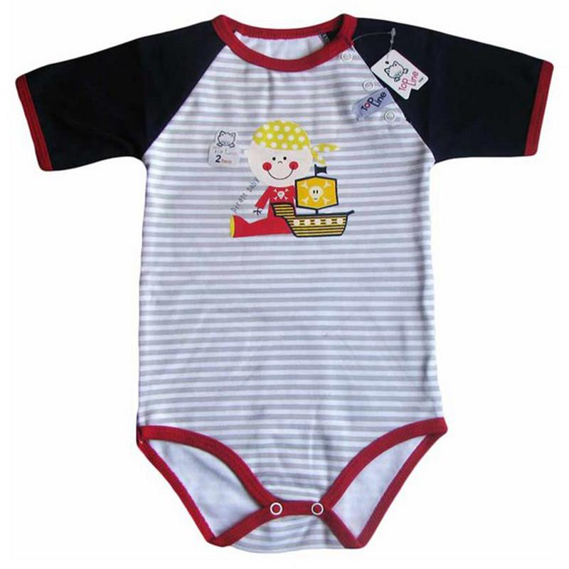 بادی آستین کوتاه نوزادی تاپ لاین طرح دزد دریایی