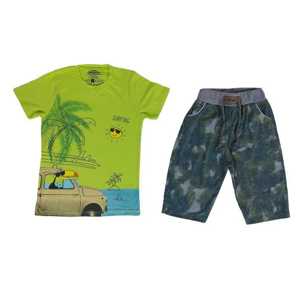 ست تی شرت و شلوارک پسرانه مدل هاوایی کد 1282