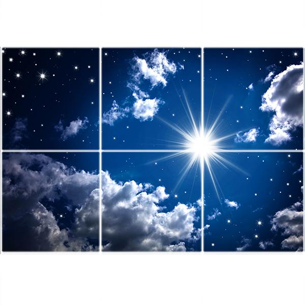 تایل سقفی آسمان مجازی طرح آسمان شب کد ST 7208-6 سایز 60x60 سانتی متر مجموعه 6 عددی