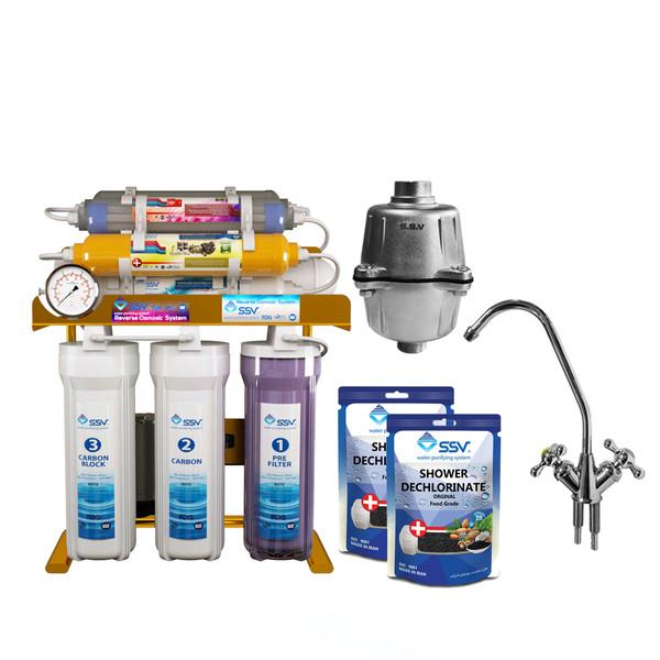دستگاه تصفیه آب اس اس وی مدل  MaxGold 2W X1000 Packed SSCH به همراه شیر دوکاره و فیلتر دوش و شارژ یدک وزن 140 گرم مجموعه 2 عددی