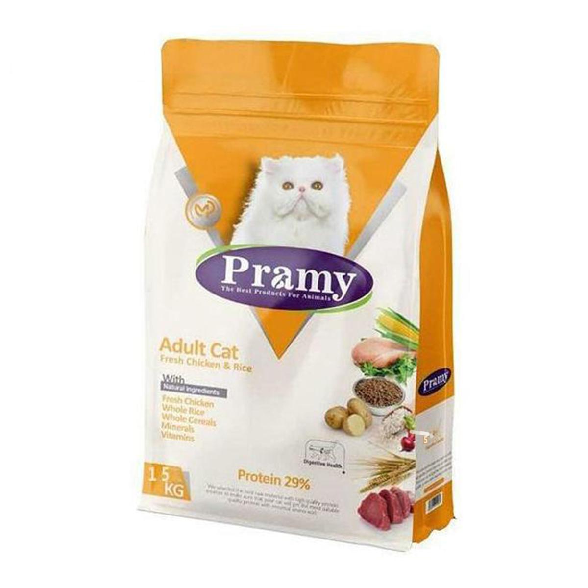 غذای خشک گربه پرامی مدل adult cat chicken and rice وزن 15 کیلوگرم