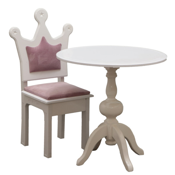 ست میز و صندلی کودک مدل میز پایه گلدانی و صندلی تاج