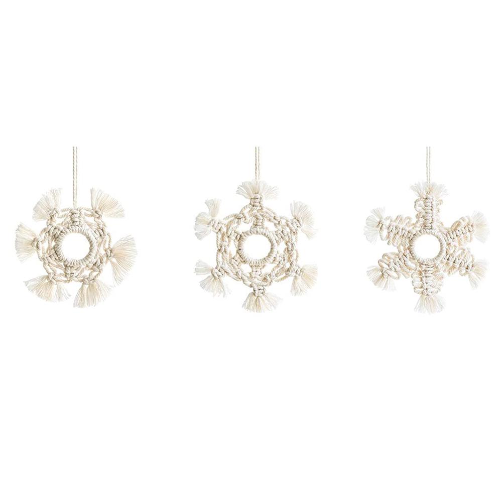 آویز بافتنی بوهو ماه مدل Snowflake مجموعه سه عددی