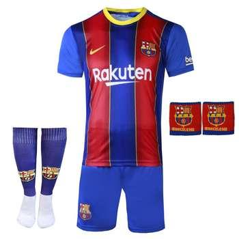 ست 4 تکه لباس ورزشی پسرانه طرح بارسلونا مدل مسی 2021
