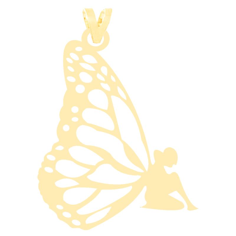 آویز گردنبند طلا 18 عیار زنانه کرابو طرح فرشته مدل Kr3298