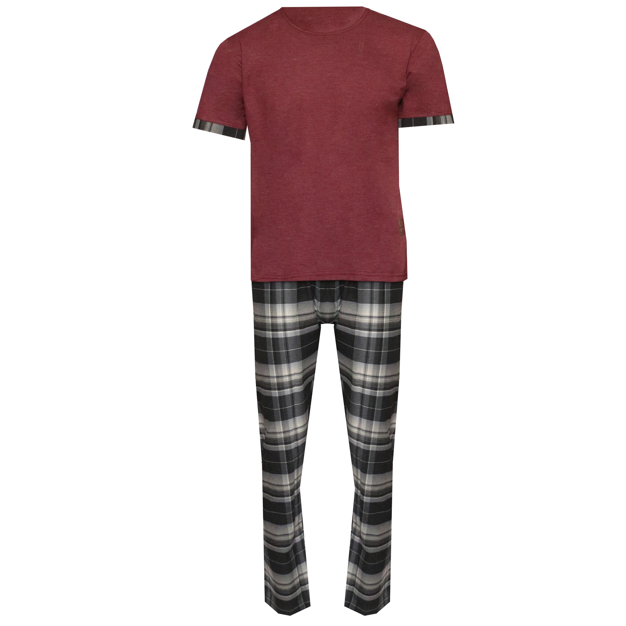 ست تی شرت و شلوار مردانه لباس خونه کد 990706 رنگ زرشکی