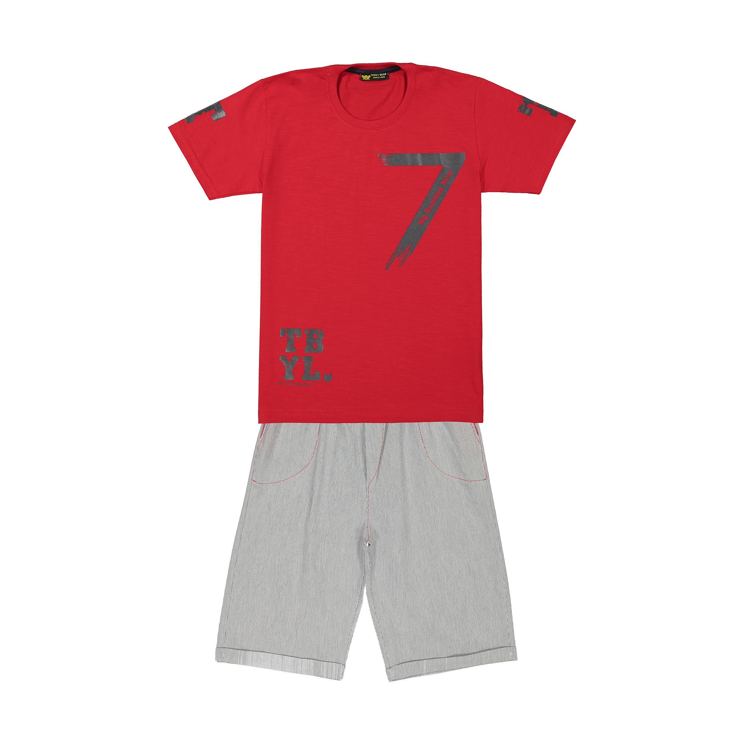 ست تی شرت و شلوارک پسرانه خرس کوچولو مدل 2011180-72