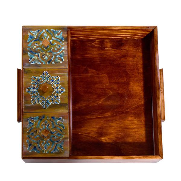 سینی چوبی مدل پذیرایی درب دار