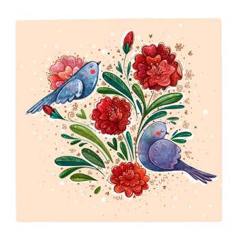 کاشی طرح گل و پرنده کد 231