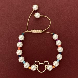دستبند طلا 18 عیار دخترانه الماسین آذر مدل MICKEY01