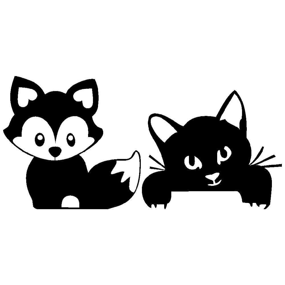 استیکر فراگرافکلید و پریز  FG طرح گربه و روباه کد 063