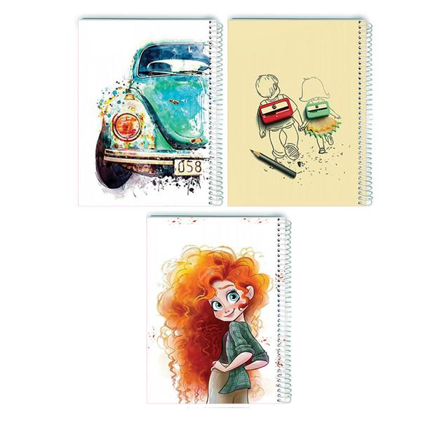 دفتر  80 برگ سیمی انتشارات مرسل مدل فانتزی پک اول مجموعه 3 عددی